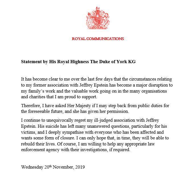 Заявление принца о сложении монарших полномочий / Фото: facebook, The Duke of York