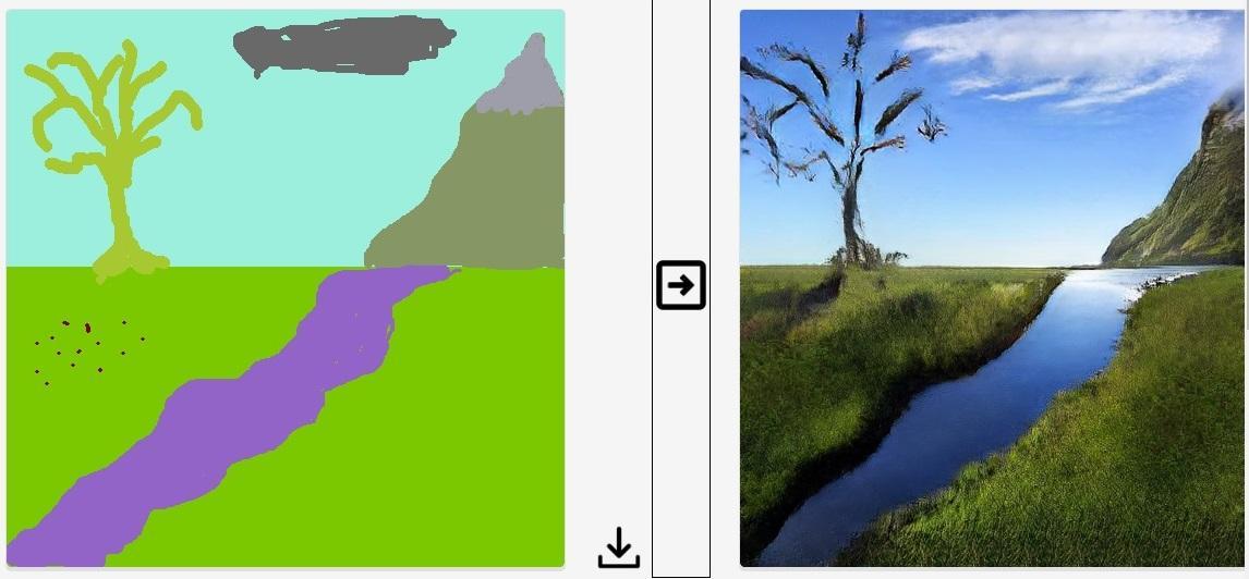 Слева мы нарисовали «пейзаж» – справа нейросеть сделала красоту / Фото УНИАН