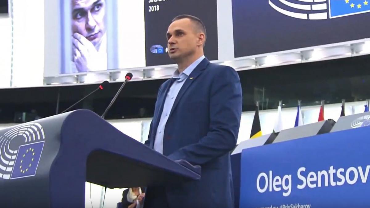 Олег Сенцов виступає в Європарламенті / скріншот