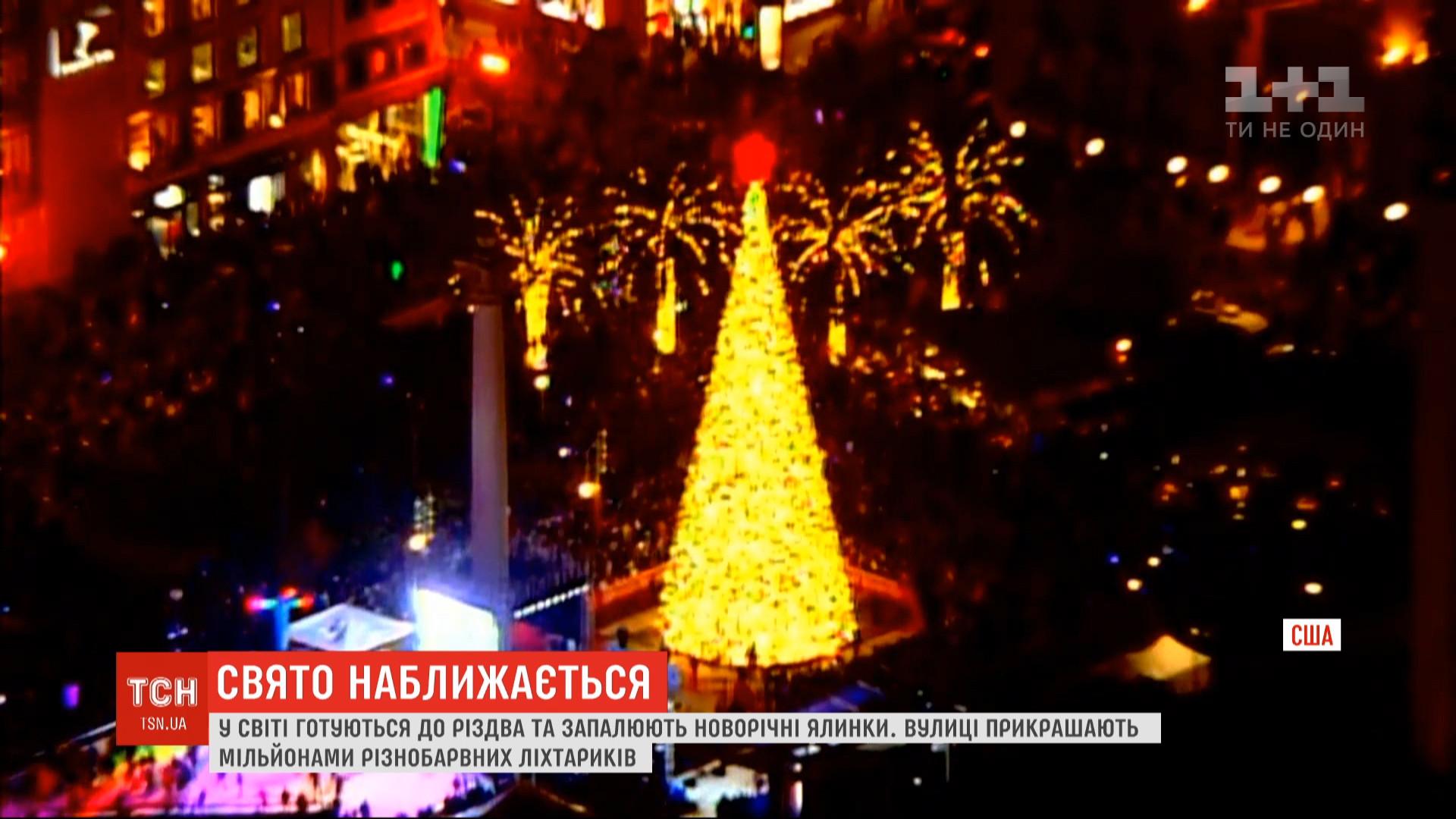В Сан-Франциско установили елку, которую украсили 33 тысячами энергосберегающих фонариков / скриншот
