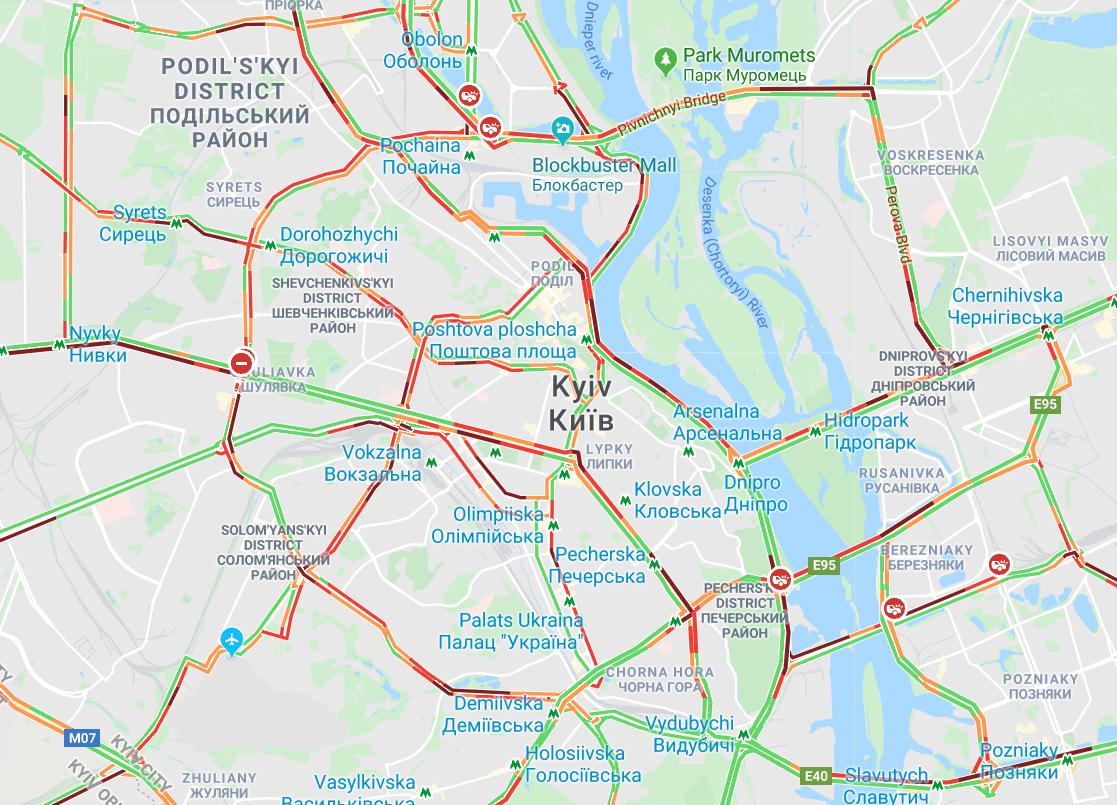 У Києві знову затори / Google maps