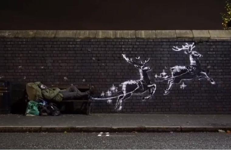 Бенксі намалював графіті напередодніріздва / скріншот