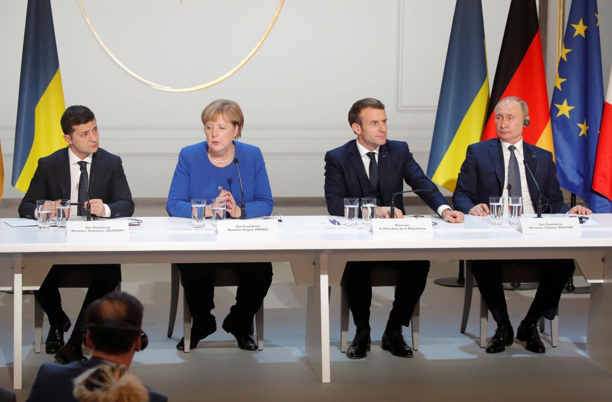 """Лидеры """"нормандской четверки"""" на пресс-конференции в Париже / REUTERS"""