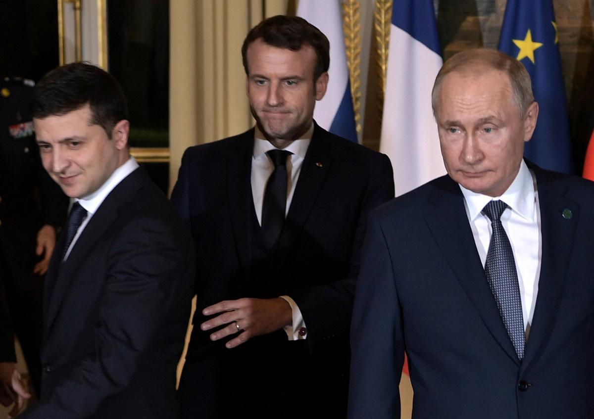 Зеленский, Макрон и Путин / REUTERS