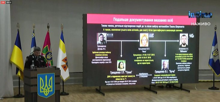 Screenshot from Koval's briefing on the suspects of Sheremet's assassination