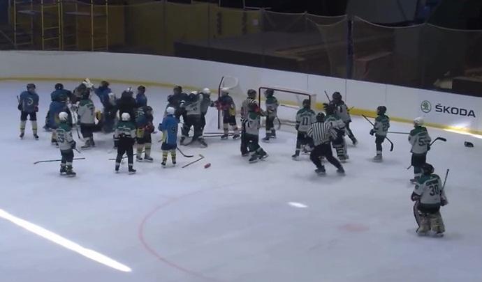 Детский тренер выбежал на лед и начал толкать игроков команды соперника / фото: скриншот