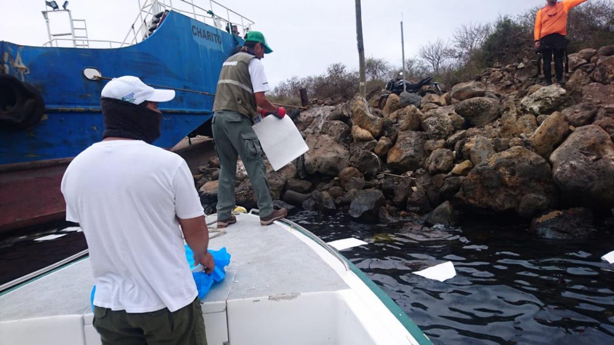 В районе места крушения судна установлены защитные барьеры/ фото twitter.com/raulclementelh