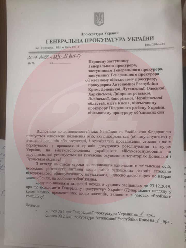 Письмо генпрокурора Рябошапки в котором он требует освободить экс-беркутовцев / 24 канал
