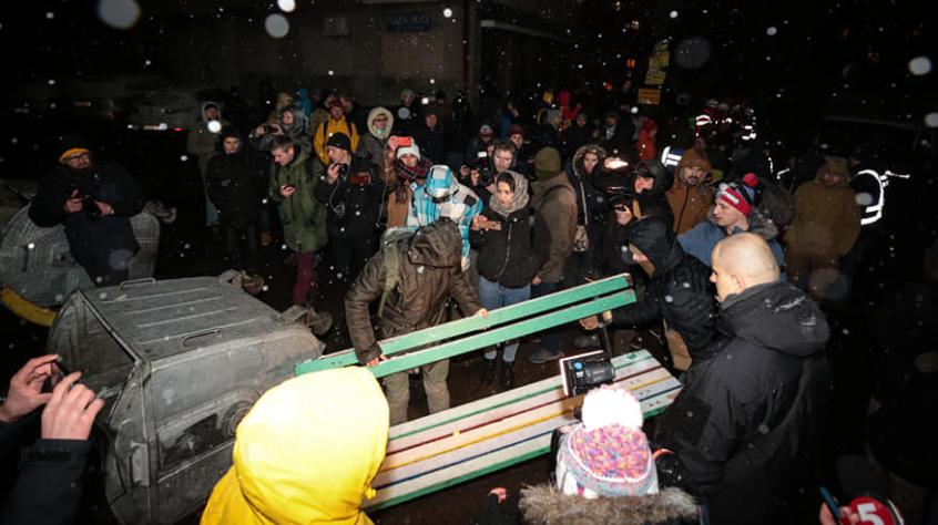 """Активисты протестовали против обмена экс-""""беркутовцев"""" / фото: """"Радіо Свобода"""""""