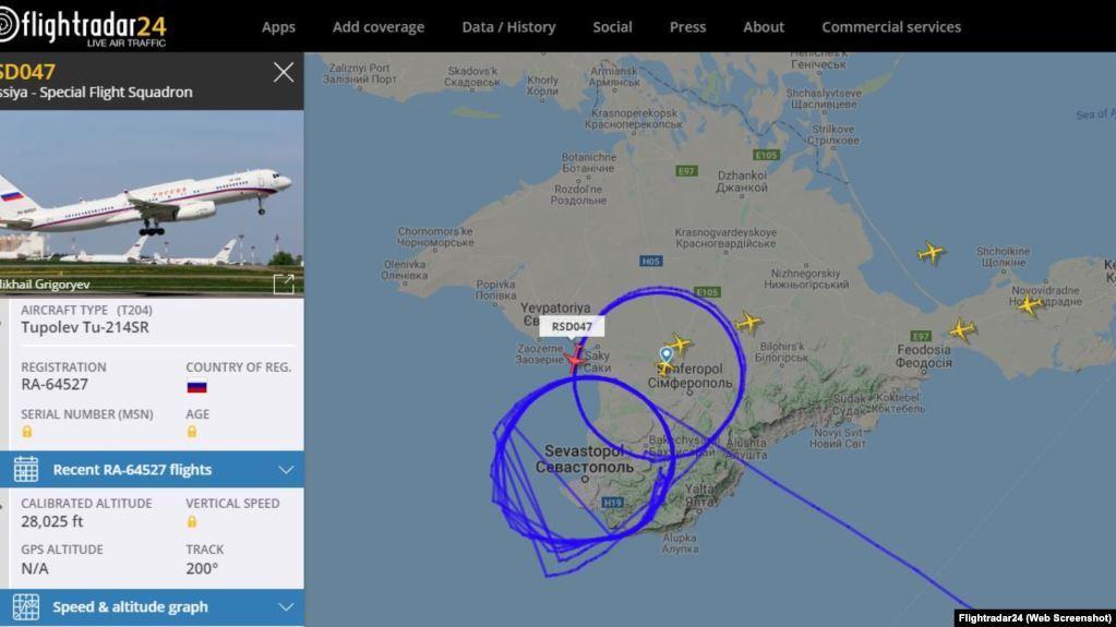 Крым.Реалии - скриншот с сайта Flightradar24