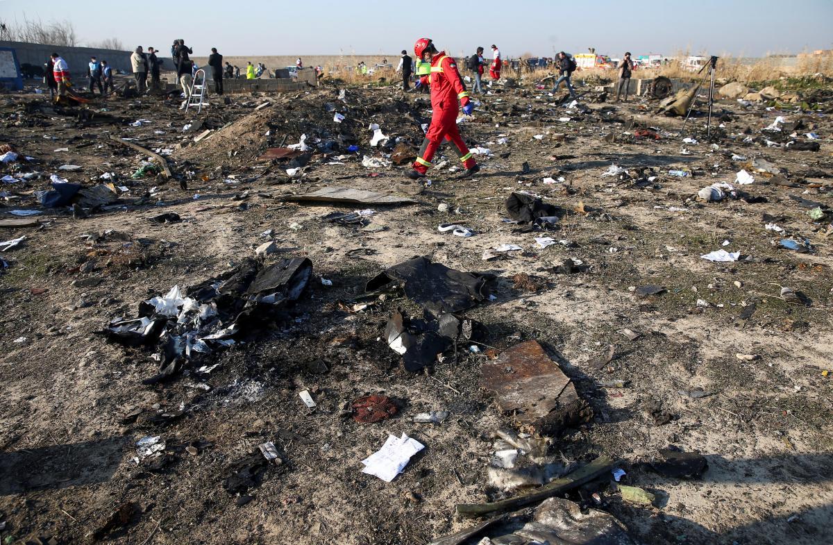 The plane crash site outside Tehran / REUTERS