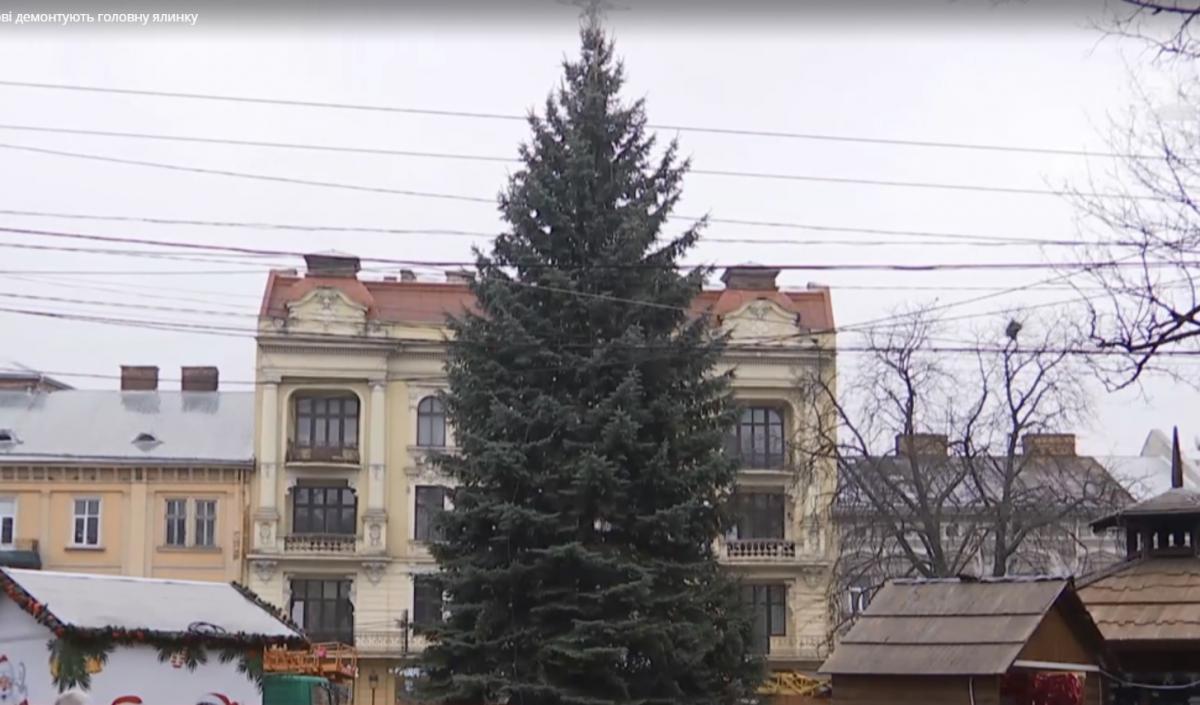 Центр Львова в этом году украшала елка высотой 70 м / скриншот