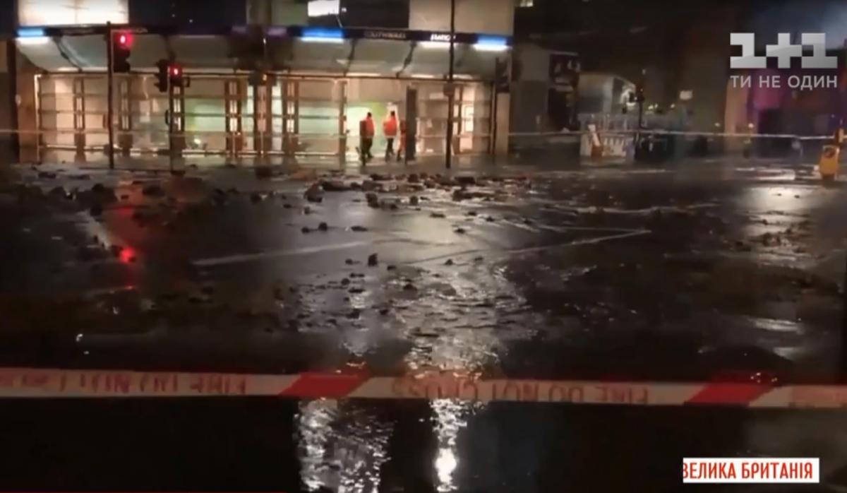 Прорыв водопровода в Лондоне / скриншот