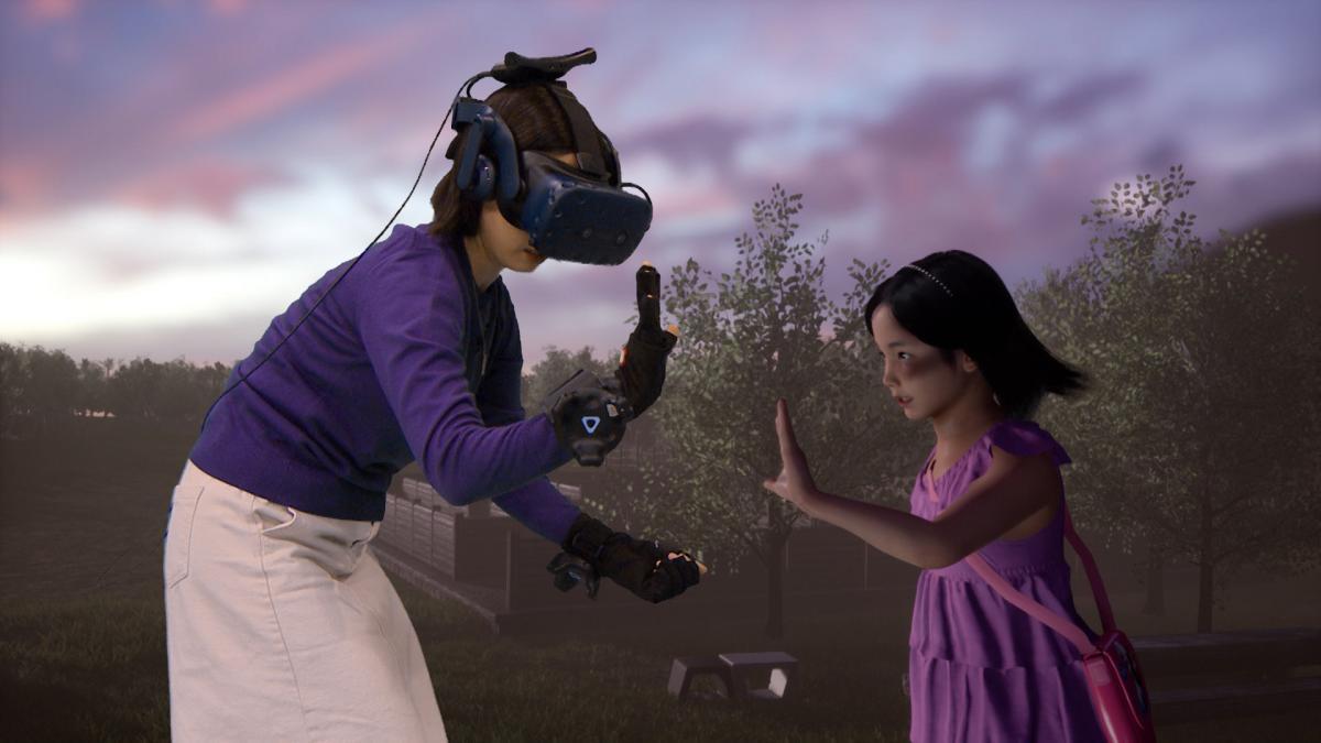 Общение проходило с помощью VR-шлема и сенсорных перчаток / скриншот