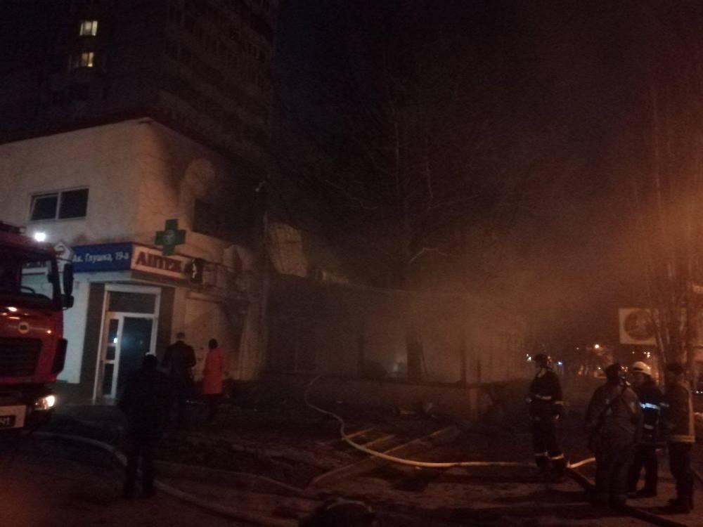 По данным спасателей, кафе горело открытым пламенем / Фото: ГСЧС