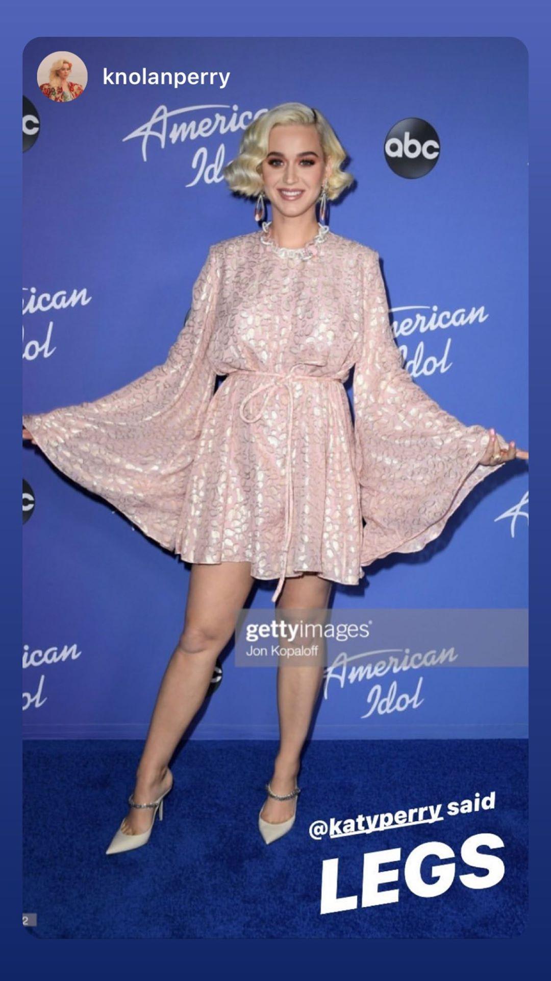 Перрі з'явилася у короткій ніжно-рожевій сукні зі сріблястим принтом під леопард і з тонким поясом-мотузкою на талії / фото instagram.com/katyperry/
