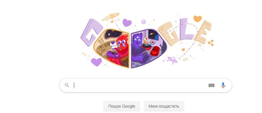 Google выпустил романтический дудл ко Дню святого Валентина / скриншот