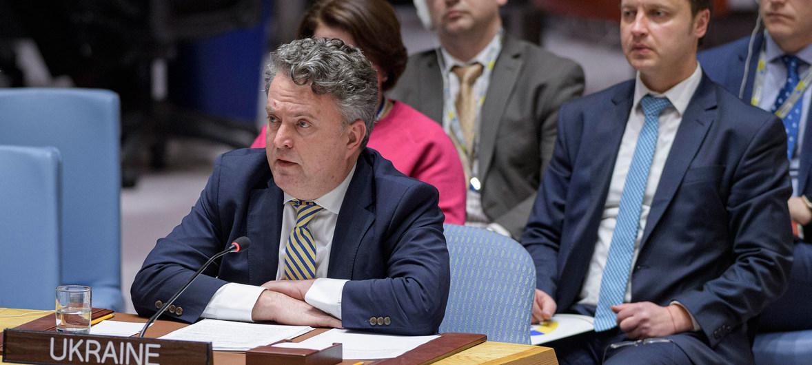 """Сергій Кислиця на засіданні Радбезу ООН запитав, """"чи хочуть росіяни війни?"""" / фото ООН/М. Еліас"""