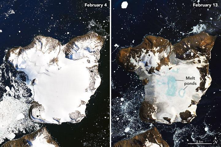 На острові відбулося танення 30 мм снігу / Фото: NASA