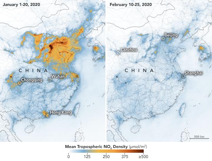 Фото показывает плотность концентрации диоксида азота (NO2) в атмосфере/ фото nasa.gov