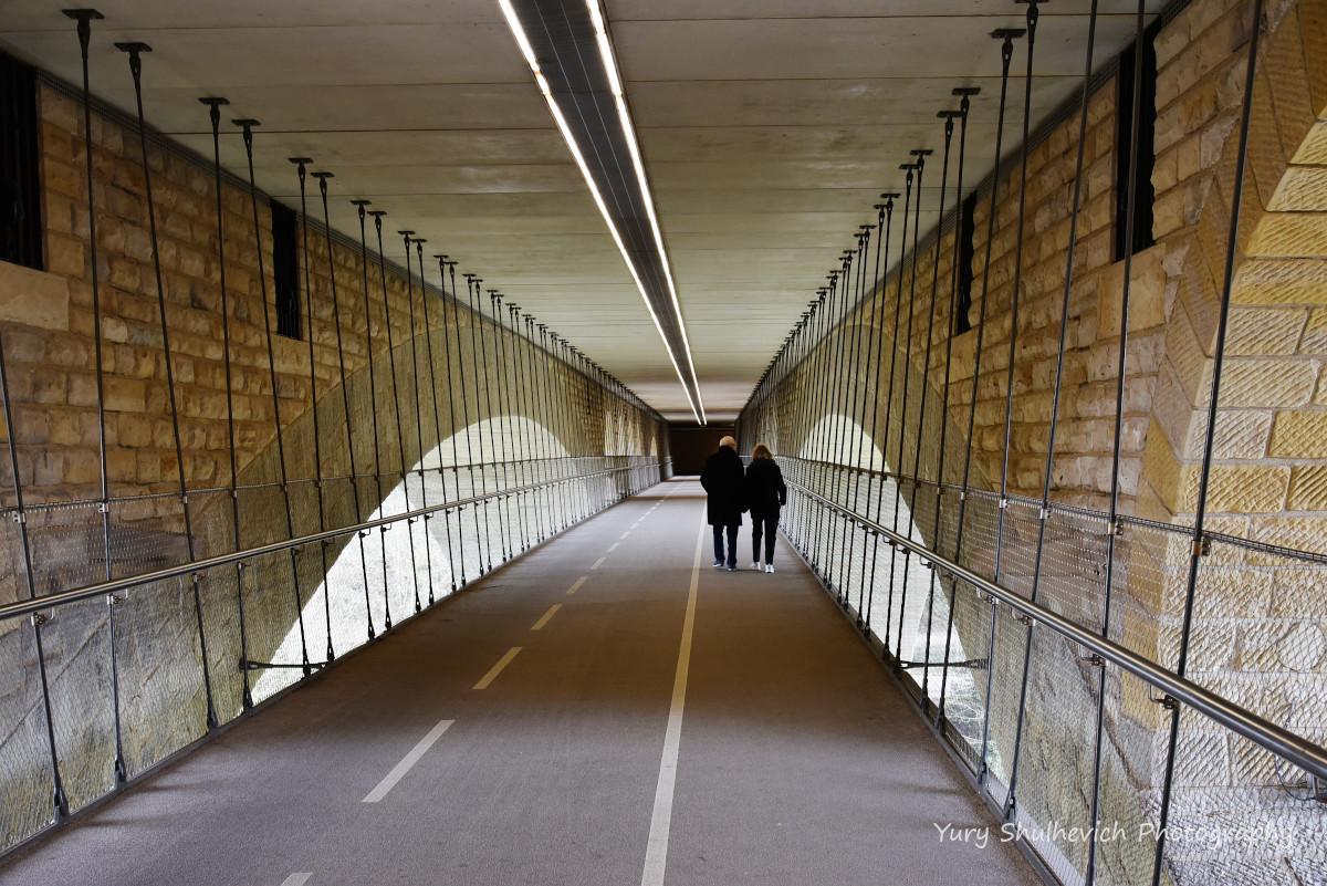 Велосипедна та пішохідна доріжки під мостом Адольфа / фото Yury Shulhevich