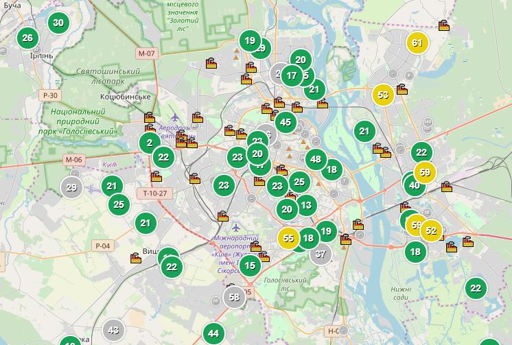 У Києві значно знизився рівень забруднення повітря / скріншот saveecobot.com