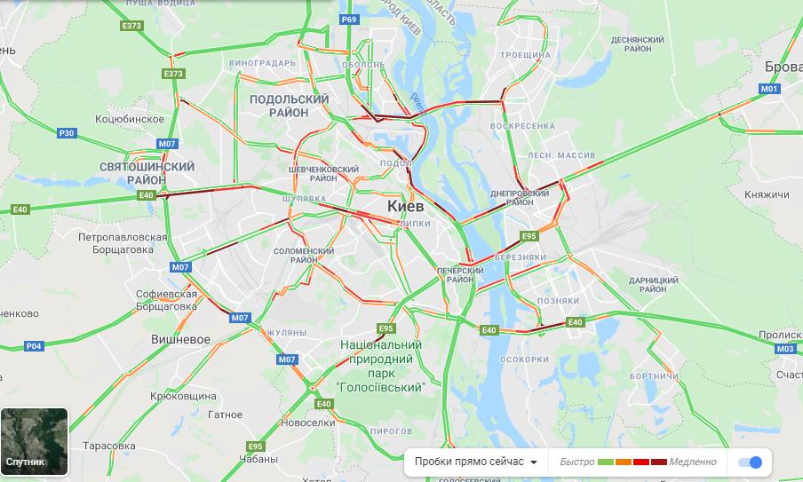 Утром в Киеве - огромные пробки / скриншот