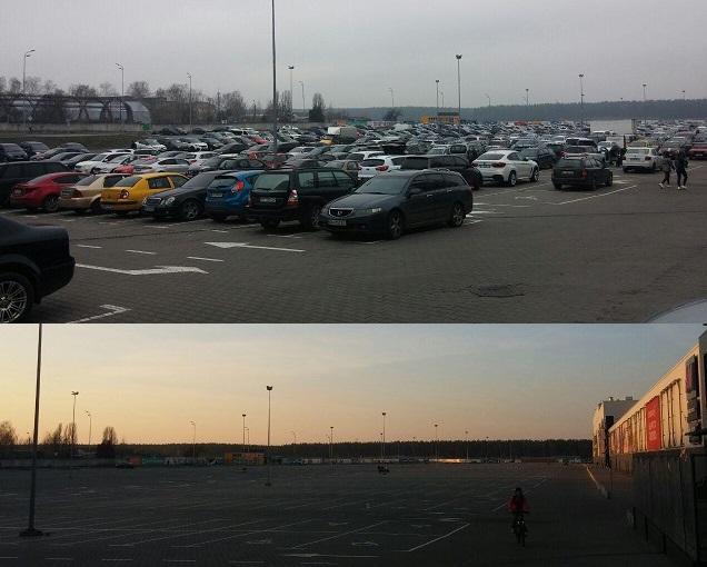 Парковка ТРЦ Lavina Mall до и после введения карантина / фото: Ольга Броскова