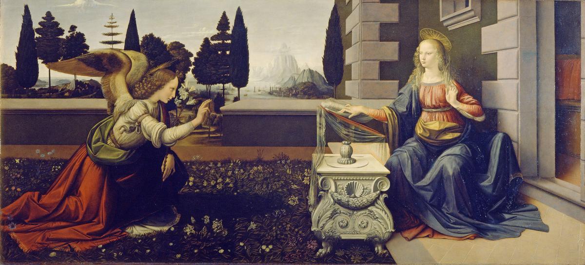 """Христиане скоро отмечают Благовещение / """"Благовещение"""" Леонардо да Винчи, 1472-1475 гг."""
