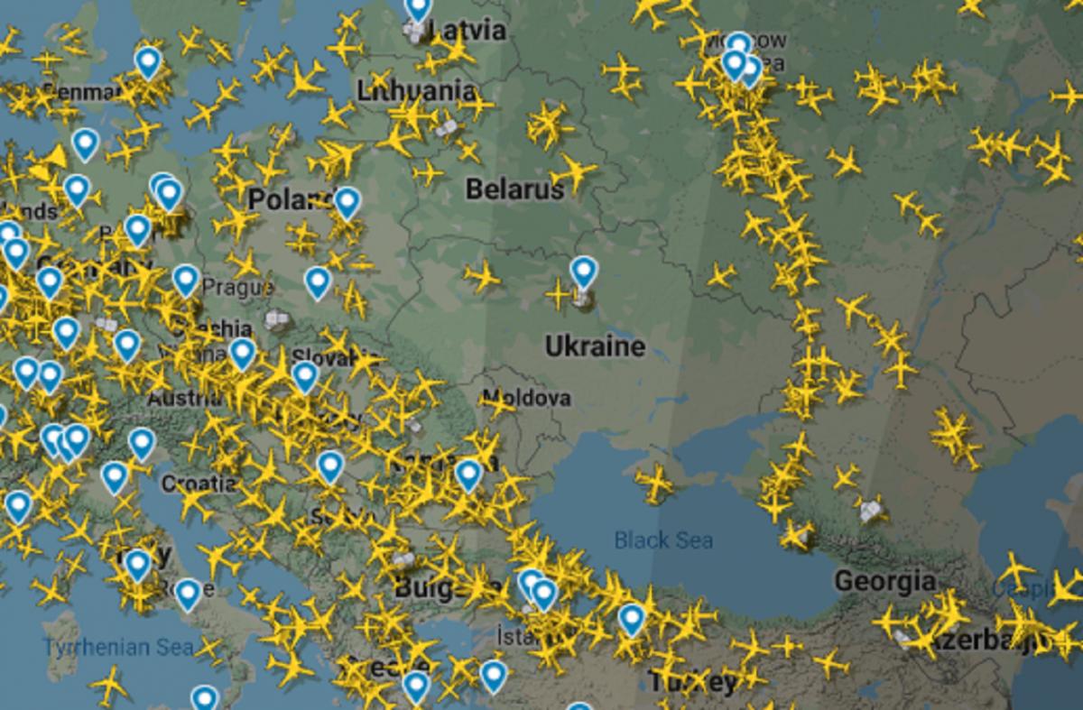 Скріншот flightradar24