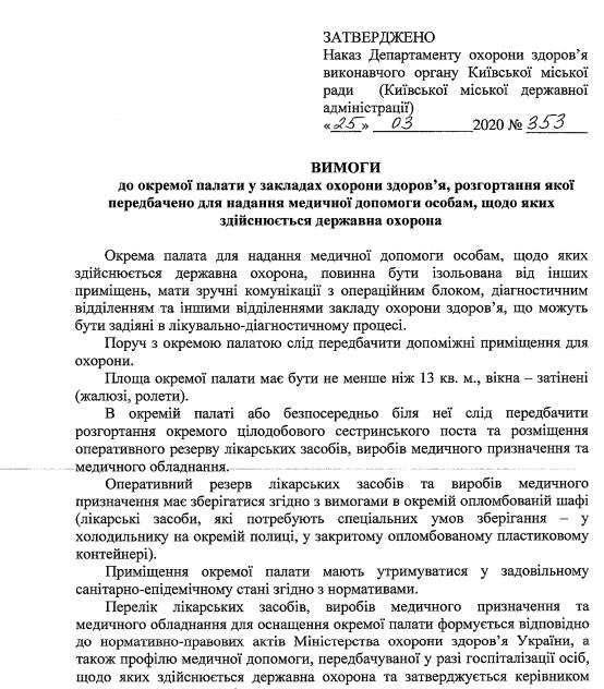 Распоряжение о подготовке VIP-палат / kievcity.gov.ua