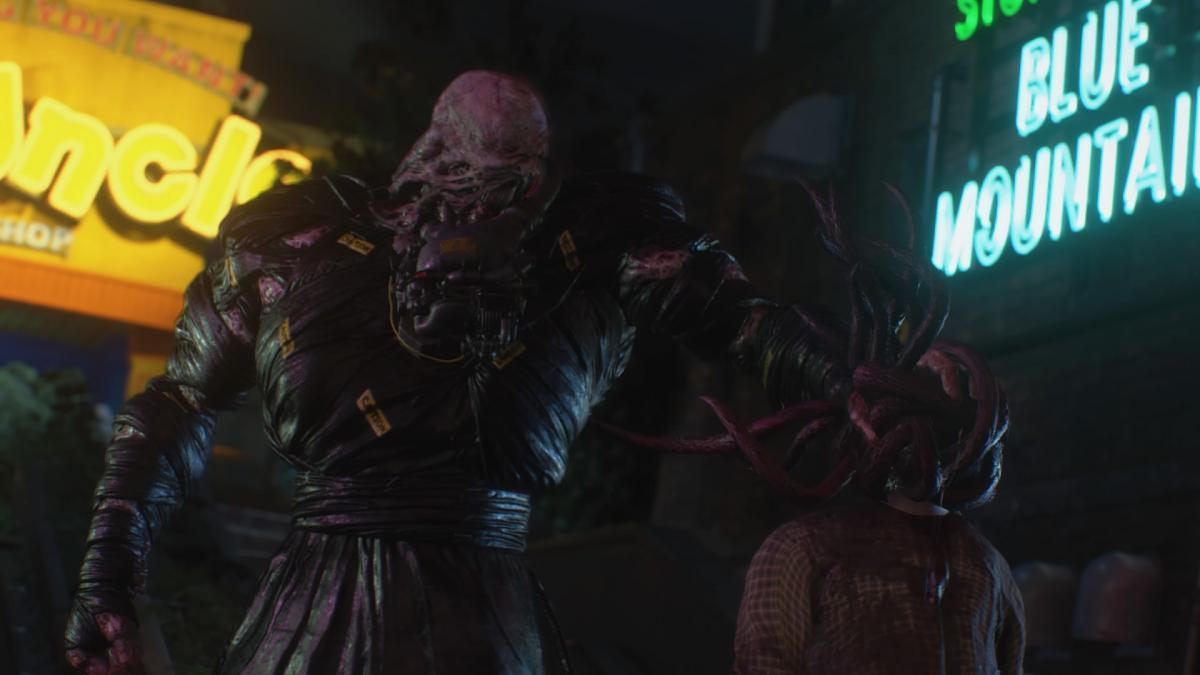 Немезис - монстр, который преследует игрока в RE3 / скриншот