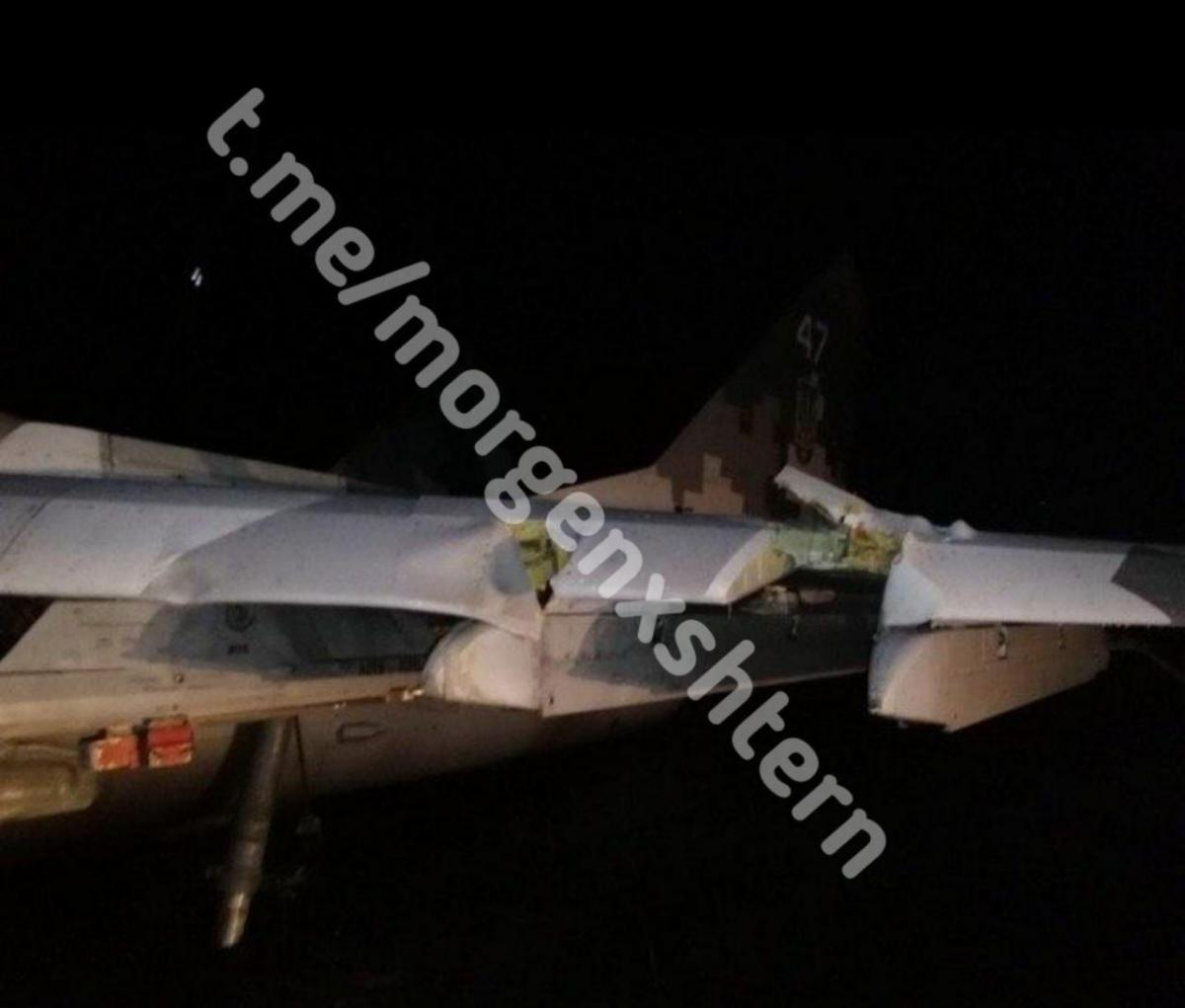 One of the jet's wings is damaged / Photo from t.me/morgenxshtern