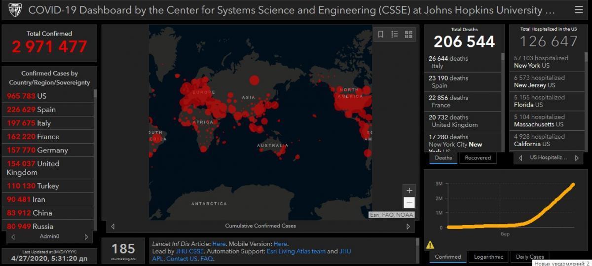 Карта распространения COVID-19 / скриншот gisanddata.maps.arcgis.com