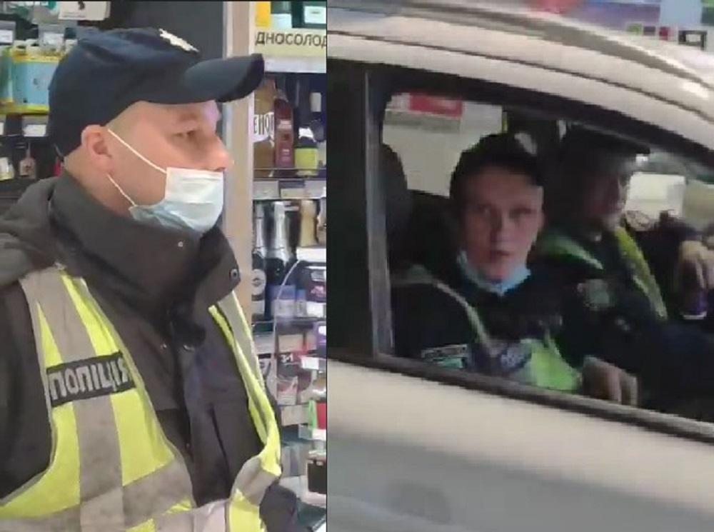 Пешеход также наткнулся на патруль полиции с сотрудниками без надетых масок / newsroom.kh.ua