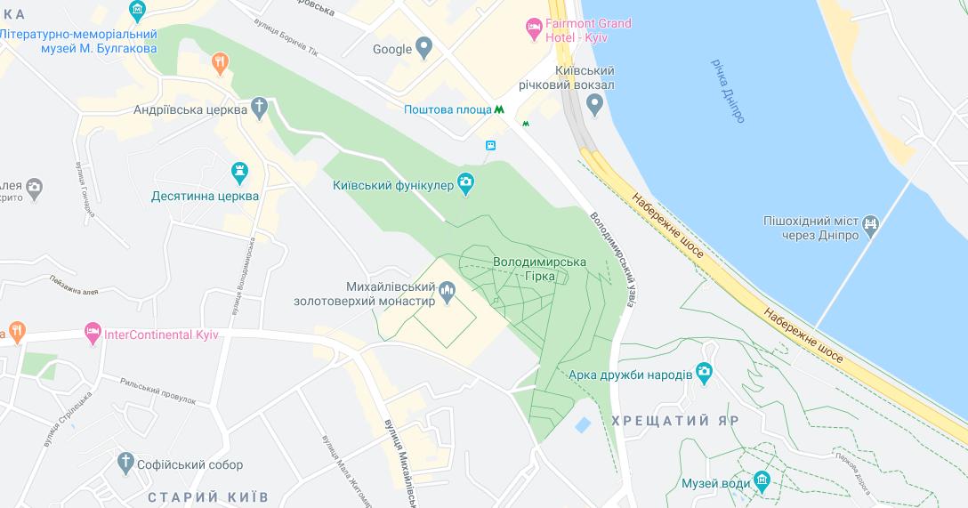 Парки Києва на карті: Володимирська гірка / Google Maps