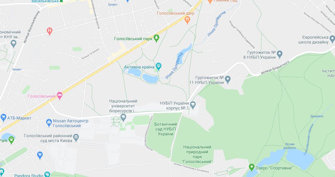 Парки Києва з озером: Голосіївський парк / Google Maps