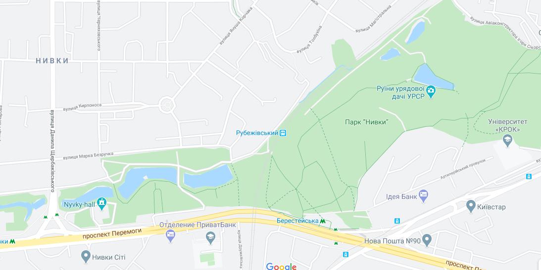 Парки Києва з озером: парк Нивки ділиться на західну та східну частини залізницею / Google Maps