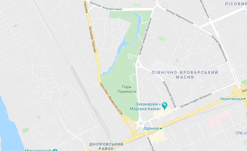 Парки Києва з озером: парк Перемога розташований біля метро Дарниця / Google Maps