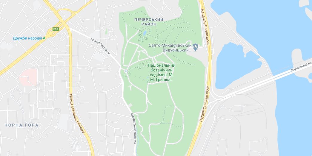 Парки Києва на карті: найближча до центрального ботсаду - станція метро Дружби народів / Google Maps