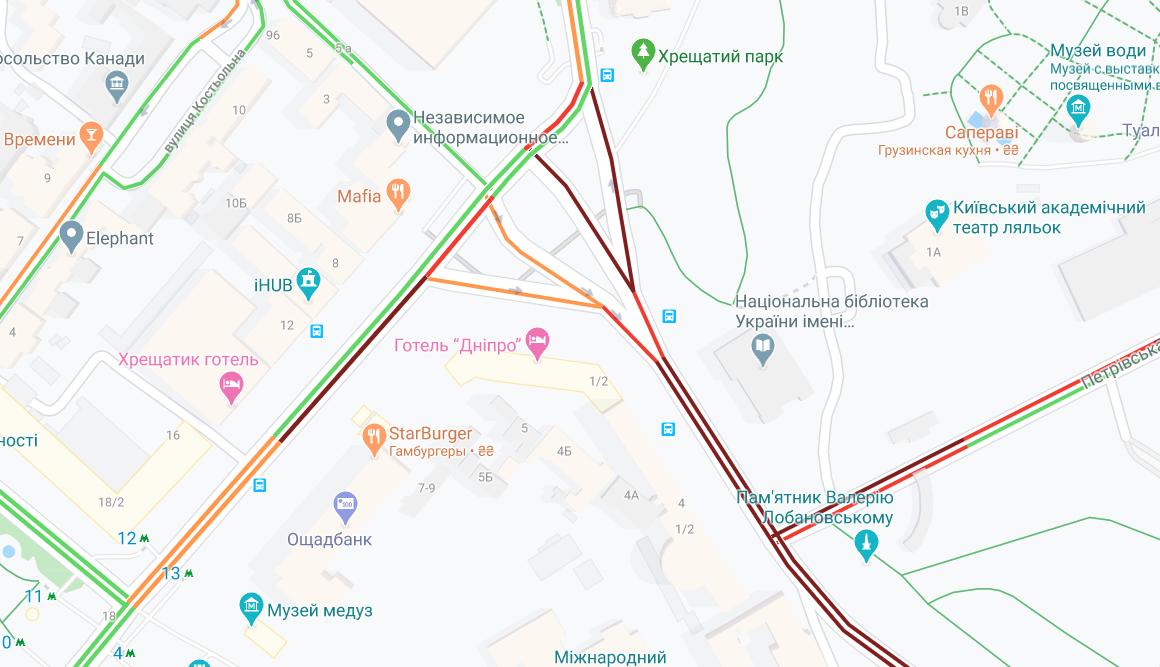 Ситуация на дорогах центра города сложная / Google Maps