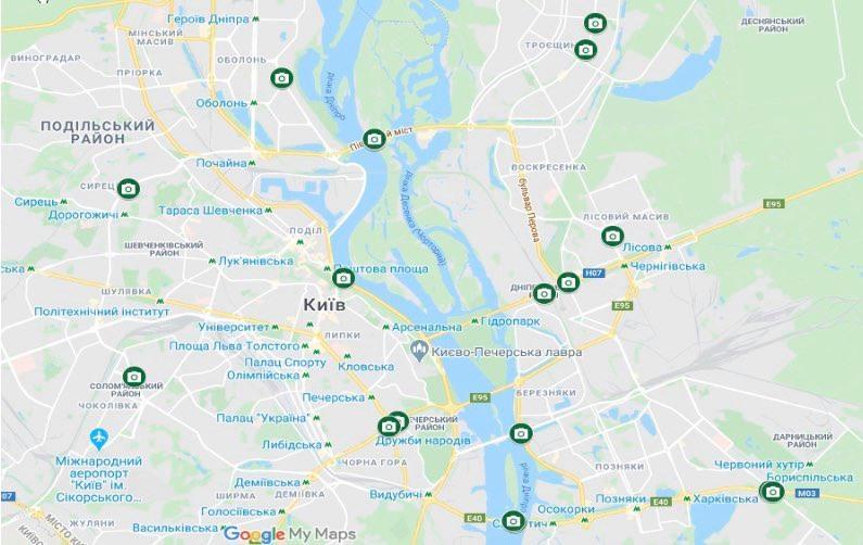 Камеры на дорогах - карта / фото: mvs.gov.ua