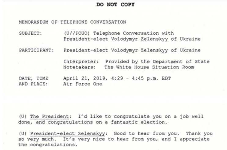 Отрывок из стенограммы разговора Трампа и Зеленского 21 апреля 2019 года / Фото: AndrewDesiderio / Facebook