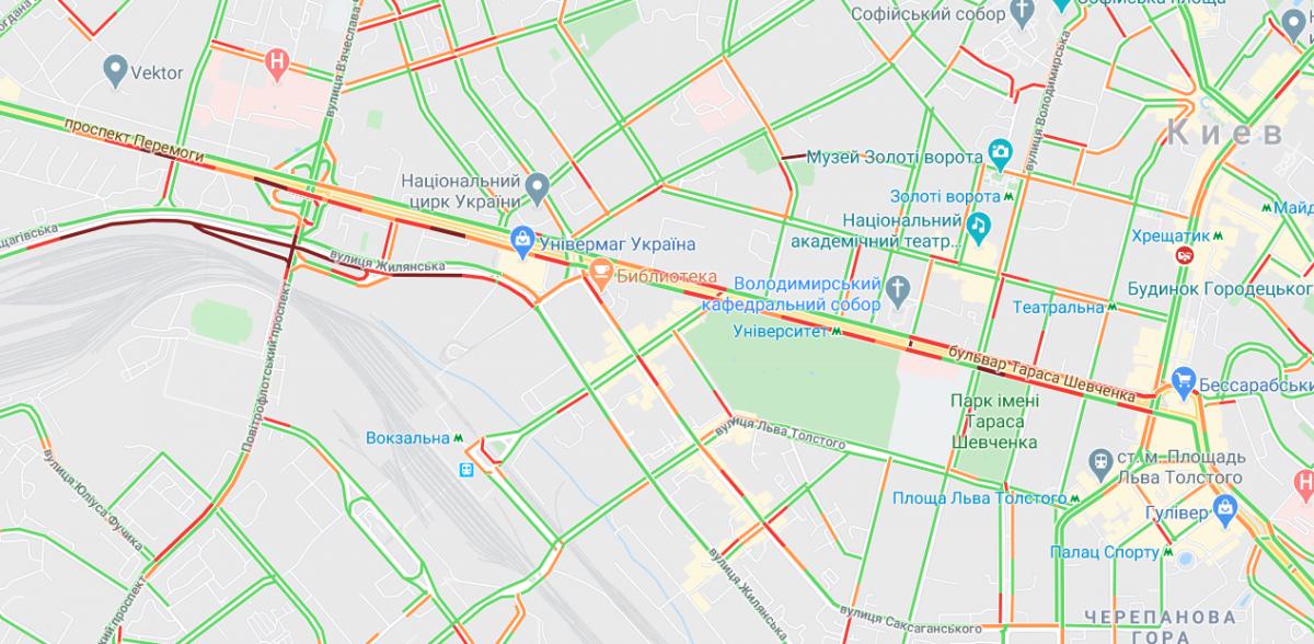 В центре города больших пробок нет / Google Maps