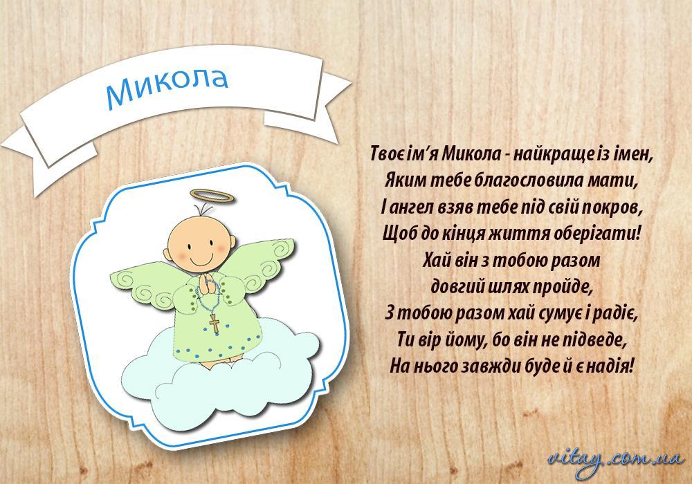 Привітання з Днем ангела Миколая / vitay.com.ua