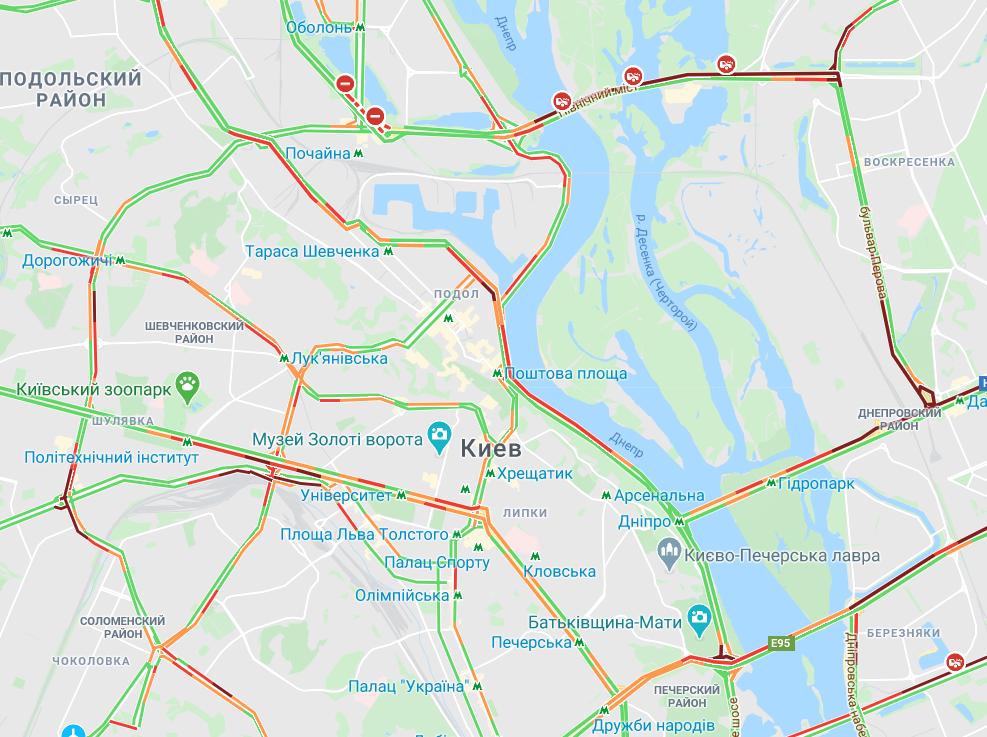 В Киеве произошел ряд ДТП / Google Maps