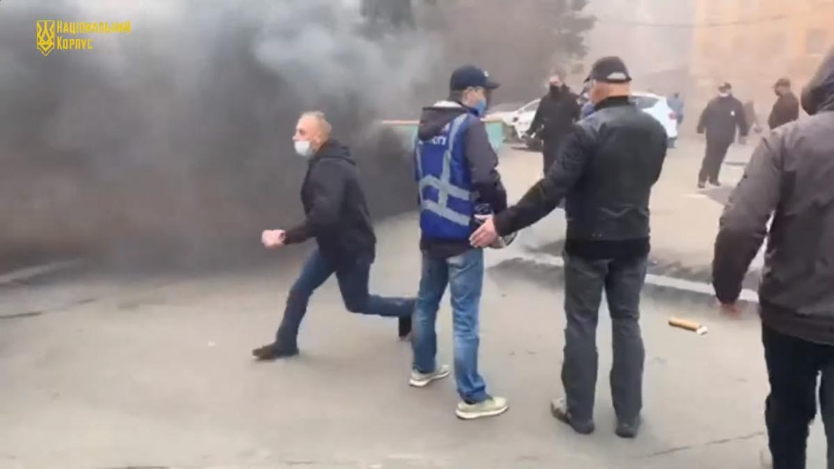 """Акция протеста """"Нацкорпуса"""" была посвящена Дню героев / скриншот из видео"""