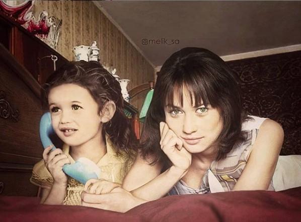 Ольга Куриленко в детстве и сейчас / фото Instagram Ольги Куриленко