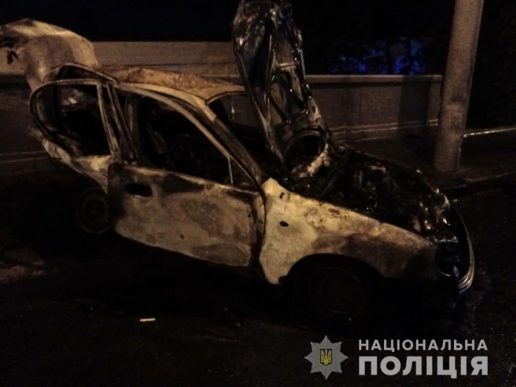 От мощного удара Lanos загорелся \ Нацполиция Харьковской области