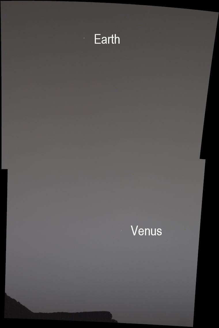 Снимок Земли и Венеры с Марса / Фото NASA